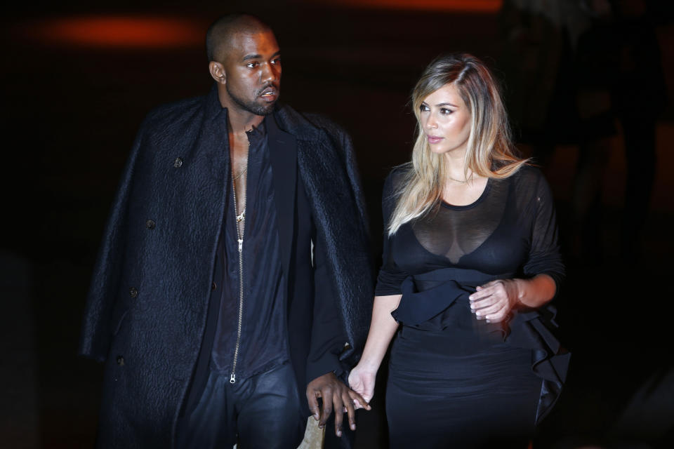 Kim Kardashian and Kanye West during Paris Fashion Week on Sept. 29, 2013.