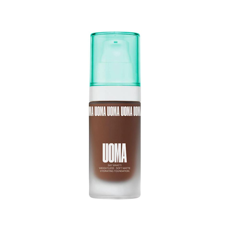 "<p>""I need you to go into your makeup bag, cabinet, bin, or wherever else you store your products and throw every foundation bottle out — all you need is this one from <a href=""https://www.allure.com/story/uoma-beauty-black-magic-carnival-collection?mbid=synd_yahoo_rss"" rel=""nofollow noopener"" target=""_blank"" data-ylk=""slk:Uoma Beauty."" class=""link rapid-noclick-resp"">Uoma Beauty.</a> Okay, maybe you don't need to do that (I own at least 10 different formulas), but you should at least give this buildable, medium-coverage foundation with a natural matte finish a try. Oftentimes, foundations lean way too red for me, but the Say What?! Foundation comes in three different undertones that actually make sense for my neutral undertones. Every time I put this on, I am shook at how good my face looks. It easily makes it into my top three favorite foundations. ""<em>— Gabi Thorne, editorial assistant</em></p> <p><strong>$39</strong> (<a href=""https://shop-links.co/1699942165296794144"" rel=""nofollow noopener"" target=""_blank"" data-ylk=""slk:Shop Now"" class=""link rapid-noclick-resp"">Shop Now</a>)</p>"