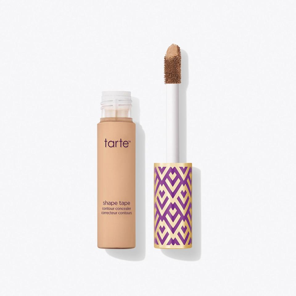 """<h2>Tarte Cosmetics<br></h2><br>With the <a href=""""https://www.peta.org/living/personal-care-fashion/2016-cruelty-free-companies-making-2016-theyearofvegan/"""" rel=""""nofollow noopener"""" target=""""_blank"""" data-ylk=""""slk:PETA"""" class=""""link rapid-noclick-resp"""">PETA</a> stamp of approval, Tarte is both cruelty-free and sells a variety of vegan products, including its revered Shape Tape concealer and best-selling <a href=""""https://tartecosmetics.com/en_US/collections/vegan-friendly/amazonian-clay-full-coverage-foundation-spf-15/267.html?cgid=collections-vegan-friendly&dwvar_267_color=medium-tan%20sand#prefn1=excludedFromLocale&srule=top-sellers&sz=36&start=1&prefv1=false"""" rel=""""nofollow noopener"""" target=""""_blank"""" data-ylk=""""slk:Amazonian Clay Full Coverage Foundation"""" class=""""link rapid-noclick-resp"""">Amazonian Clay Full Coverage Foundation</a>.<br><br><strong>Tarte</strong> shape tape concealer, $, available at <a href=""""https://go.skimresources.com/?id=30283X879131&url=https%3A%2F%2Ftartecosmetics.com%2Fshop%2Fshape-tape-concealer-836.html%3F"""" rel=""""nofollow noopener"""" target=""""_blank"""" data-ylk=""""slk:Tarte"""" class=""""link rapid-noclick-resp"""">Tarte</a>"""