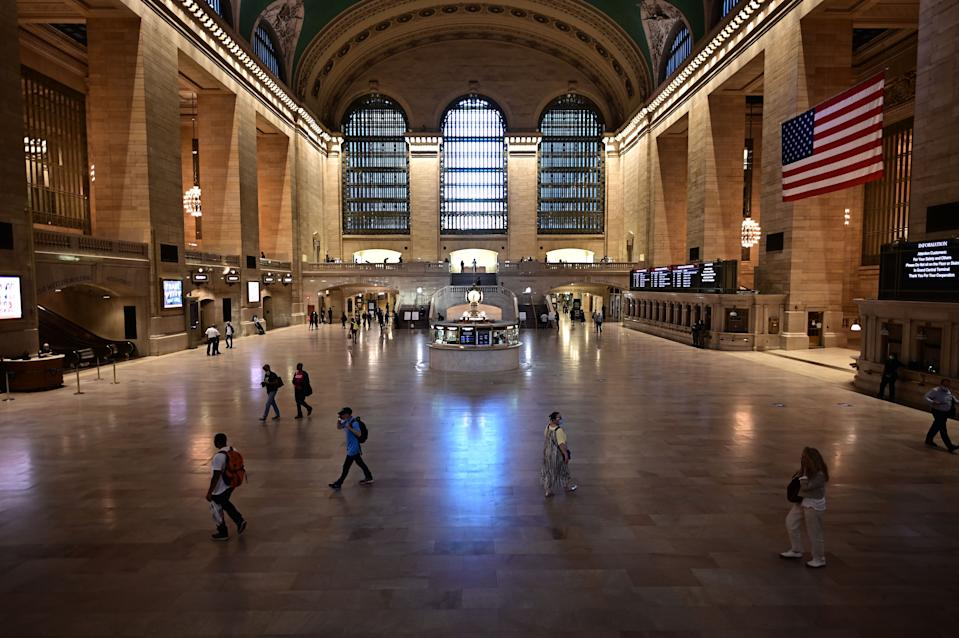 Few commuters are seen in Grand Central Terminal on June 24, 2020, in New York City. (Photo by Johannes EISELE / AFP) (Photo by JOHANNES EISELE/AFP via Getty Images)