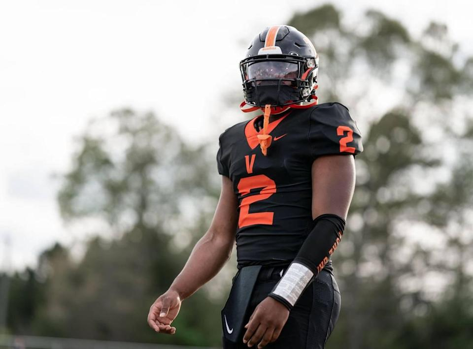 Vance Cougar Austin Grier runs through pre-game warmups. The Hough Huskies win the I-MECK 4A championship 29-22 vs the Vance Cougars Friday April 9, 2021.