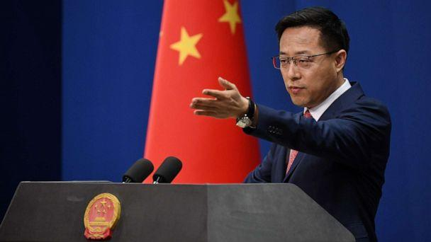 PHOTO: Chinese Foreign Ministry spokesman Zhao Lijian takes a question at the daily media briefing in Beijing on April 8, 2020. (Greg Baker/AFP via Getty Images)
