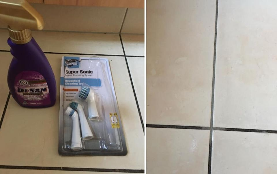 The Aldi cleaning combo left the woman's tiles looking like new. Photo: Facebook