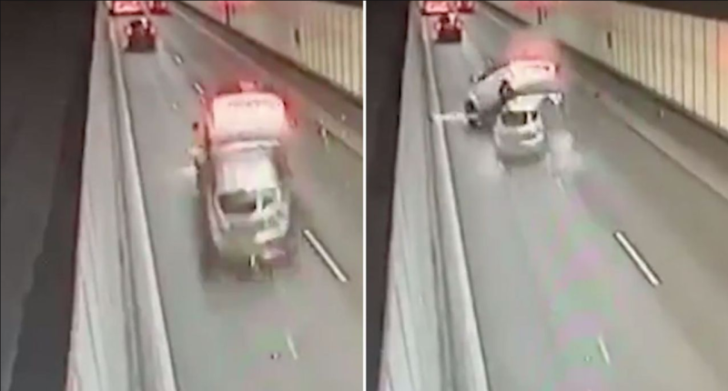 Photos showing a Mazda and Range Rover crashing inside a tunnel on Sydney's M5 on Saturday.