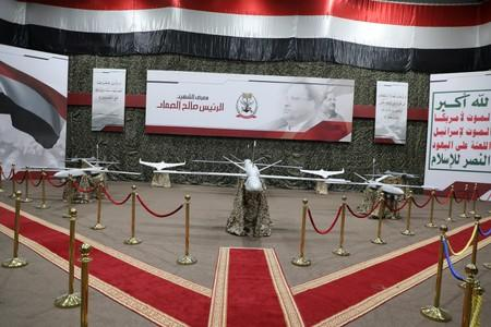 Drone aircrafts are seen on display at an exhibition at an unidentified location in Yemen in this undated handout photo released by the Houthi Media Office