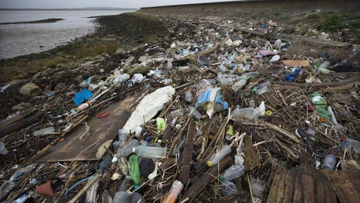 CLIFFE, KENT - JANUARY 02: Plastics and other detritus line the shore of the Thames Estuary on January 2, 2018 in Cliffe, Kent. Tons of plastic and other waste lines areas along the Thames Estuary shoreline, an important feeding ground for wading birds and other marine wildlife. According to the United Nations Environment Programme (UNEP), at current rates of pollution, there will likely be more plastic in the sea than fish by 2050. In December 2017 Britain joined the other 193 UN countries and signed up to a resolution to help eliminate marine litter and microplastics in the sea. It is estimated that about eight million metric tons of plastic find their way into the world's oceans every year. Once in the Ocean plastic can take hundreds of years to degrade, all the while breaking down into smaller and smaller 'microplastics,' which can be consumed by marine animals, and find their way into the human food chain. (Photo by Dan Kitwood/Getty Images) ** OUTS - ELSENT, FPG, CM - OUTS * NM, PH, VA if sourced by CT, LA or MoD **