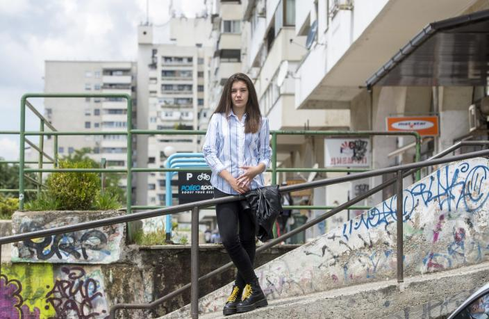 "Second year student in the ""Nikola Karev"" high school Eva Stojchevska poses for a photograph in Skopje."