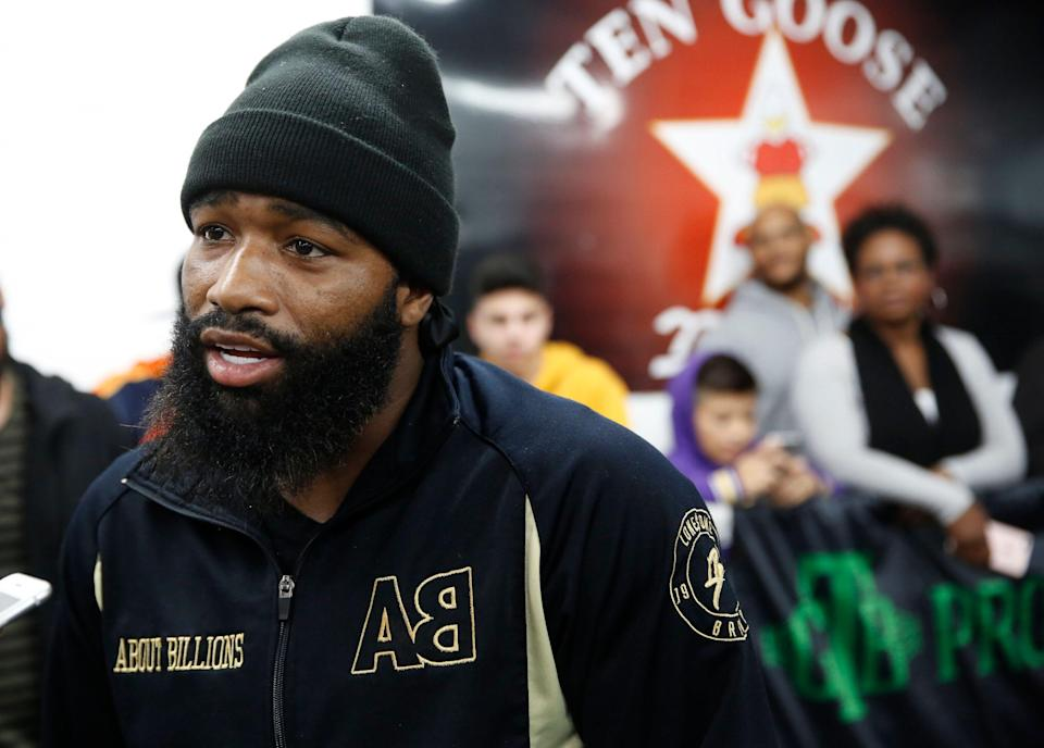 Former four-division world champion Adrien Broner takes questions from the media at the Ten Goossen boxing gym in Van Nuys, Calif., Wednesday, Jan. 9, 2019. Broner will challenge Manny Pacquiao, WBA Welterweight World Champion for his World Boxing Association welterweight title next Jan. 19, 2019, in Las Vegas. (AP Photo/Damian Dovarganes)