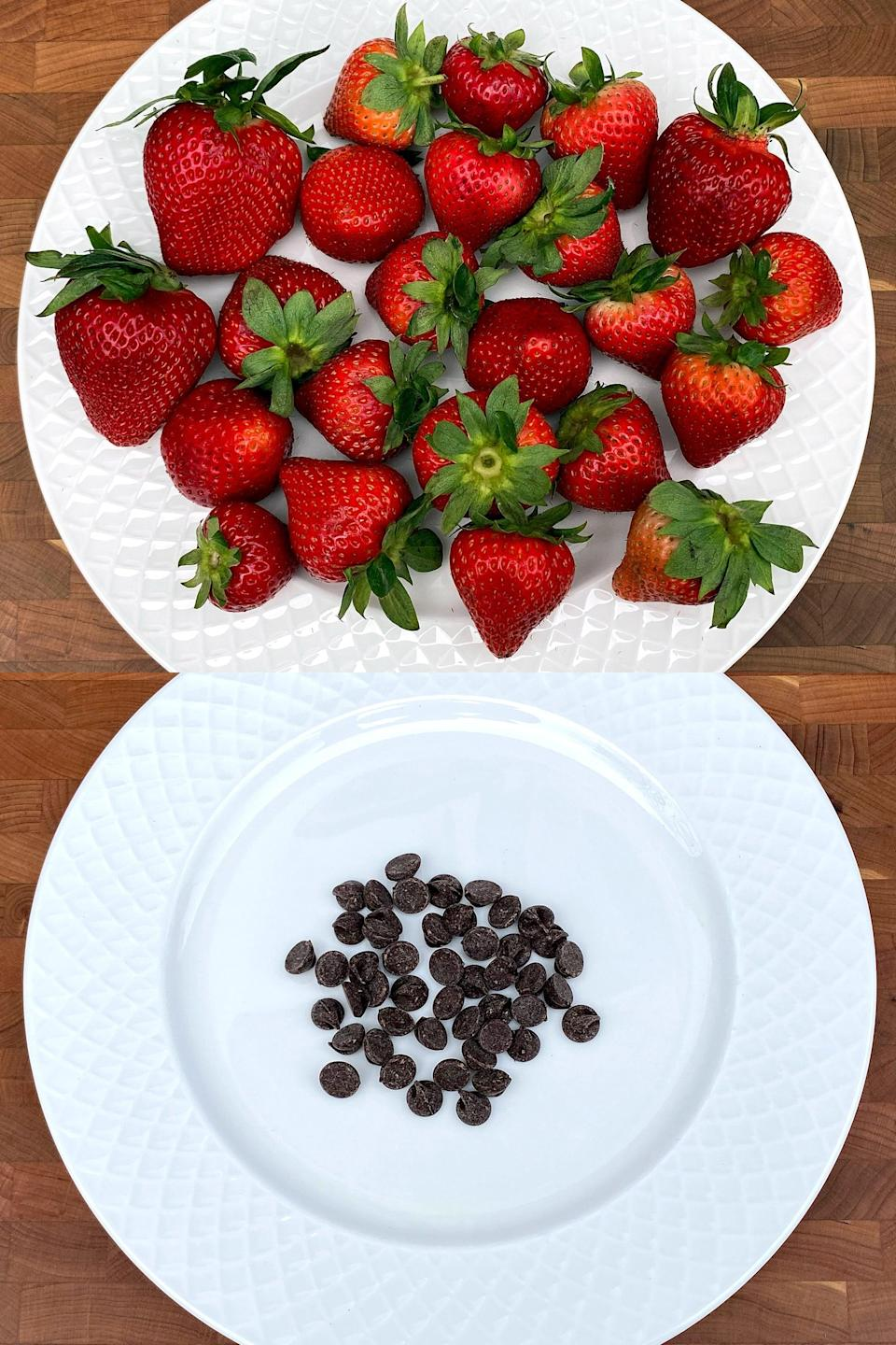 <p>This is 4 1/4 cups of strawberries versus 2 1/4 tablespoons of chocolate chips for 200 calories. I want to say I in no way think these two are on the same level of yumminess! But if you wanted something sweet, one cup of strawberries would do the trick for just 50 calories. If you're trying to lose weight and you always grab a handful of chocolate chips after a meal, you can see how the calories can start to add up.</p>