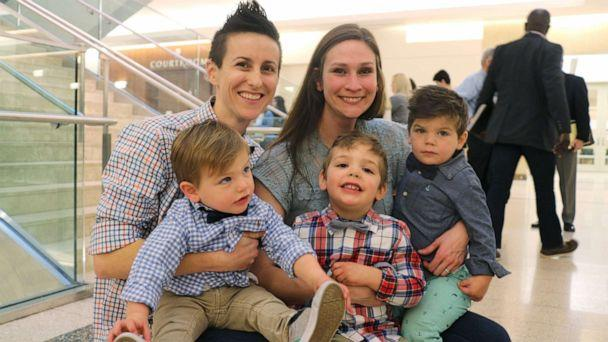 PHOTO: KC and Lena Currie are pictured with their sons, Noah, Joey and Logan on National Adoption Day in Worcester, Mass., Nov. 22, 2019. (Melissa Hanson/MassLive.com)