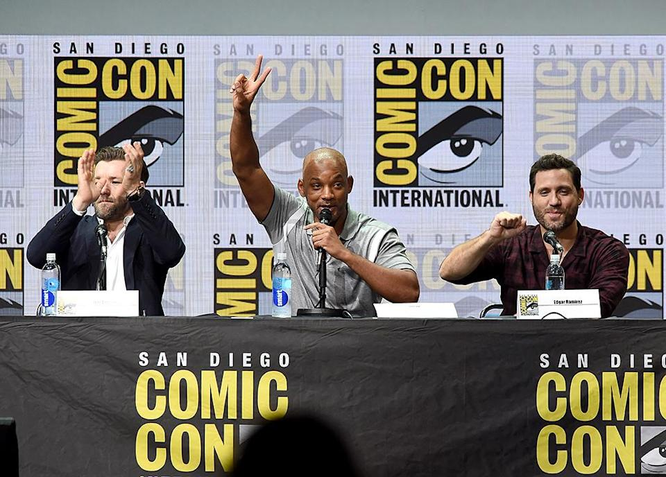 <p>Joel Edgerton, Will Smith, and Edgar Ramirez at Netflix Films Comic-Con panel on July 20, 2017, in San Diego. (Photo: Kevin Winter/Getty Images) </p>
