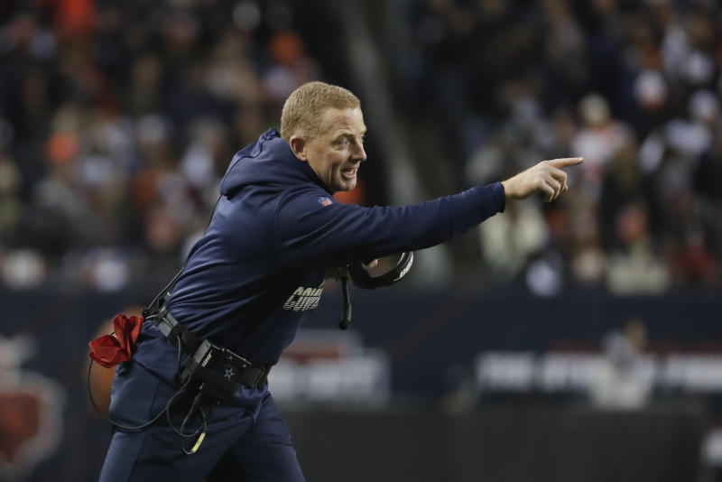 Dallas Cowboys head coach Jason Garrett shouts during the first half of an NFL football game against the Chicago Bears, Thursday, Dec. 5, 2019, in Chicago. (AP Photo/Morry Gash)