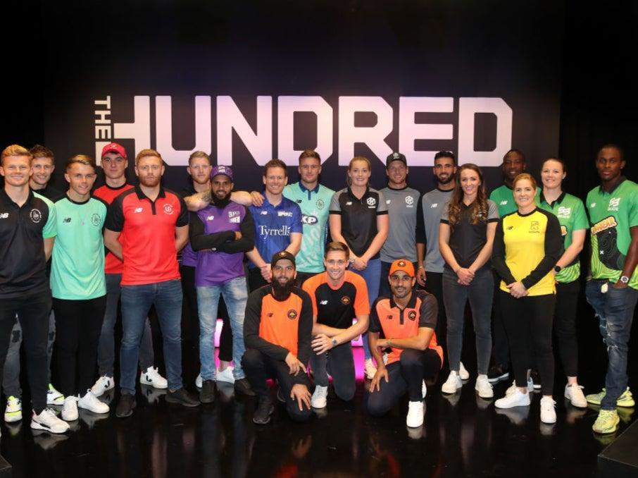 Players for the eight teams in The Hundred line up in 2019 (Getty Images for ECB)