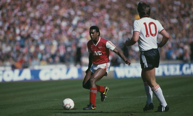 David Rocastle at the age of 19, up against Jan Molby of Liverpool during Arsenal's 2-1 victory in the 1987 League Cup final at Wembley