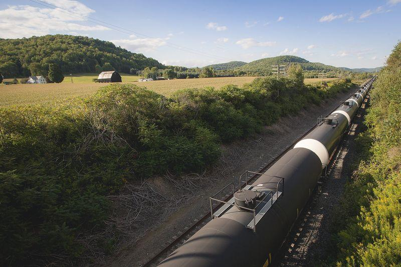 Unused oil tank cars are pictured on Western New York & Pennsylvania Railroad tracks outside Hindsdale, New York