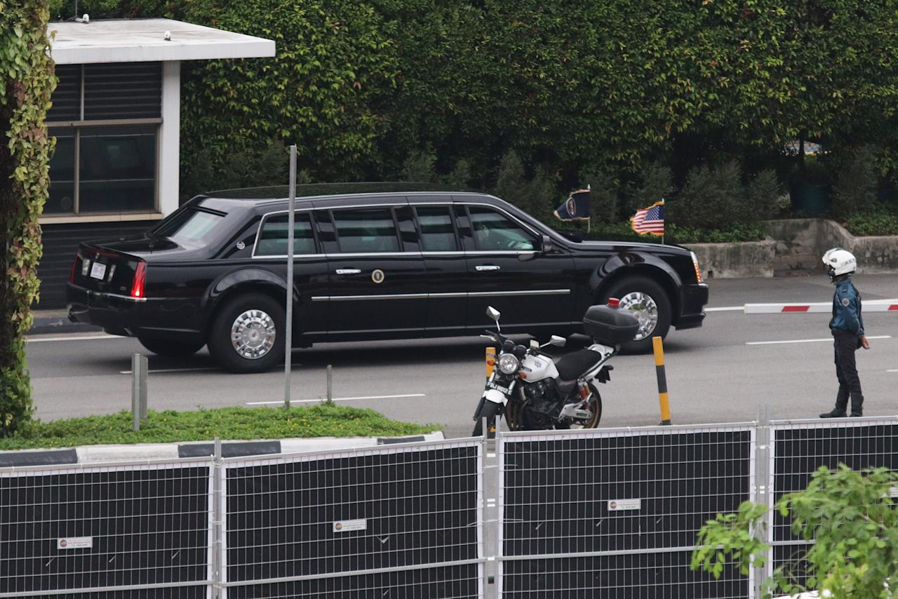 <p>US President Donald Trump's motorcade seen entering Sentosa island on 12 June 2018. (PHOTO: Yahoo News Singapore / Dhany Osman) </p>