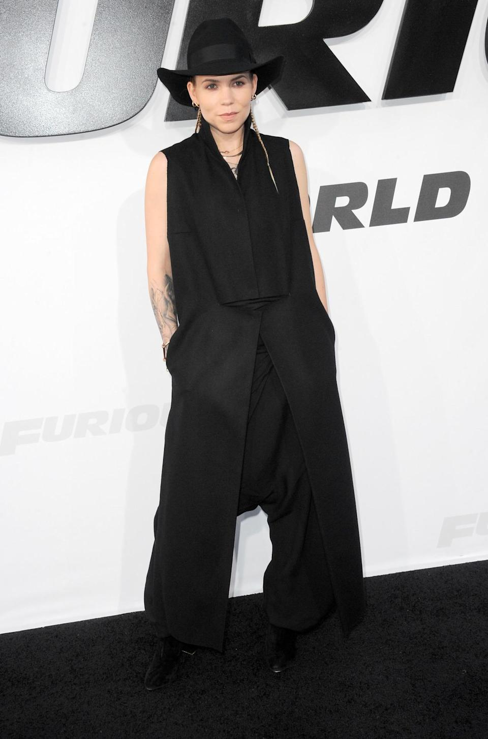 """The artist, whose music """"I Will Return"""" is featured on the """"Furious 7"""" movie soundtrack, showed up to the premiere in a strikingly similar head-to-toe black look that she wears in the song's music video."""