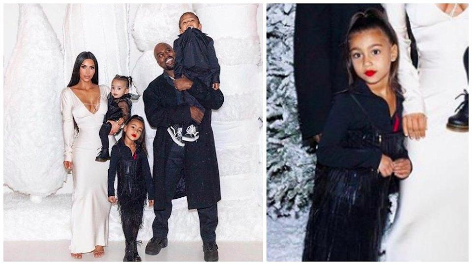 Kim Kardashian sparked outrage after sharing pictures of her little girl wearing red lipstick for Christmas. (Photo: Instagram via Kim Kardashian)