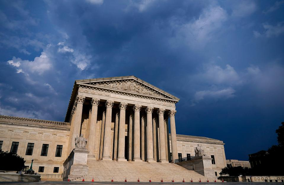 The Supreme Court is seen under threatening skies following a storm in Washington, Wednesday, May 26, 2021. (AP Photo/J. Scott Applewhite) ORG XMIT: DCSA179