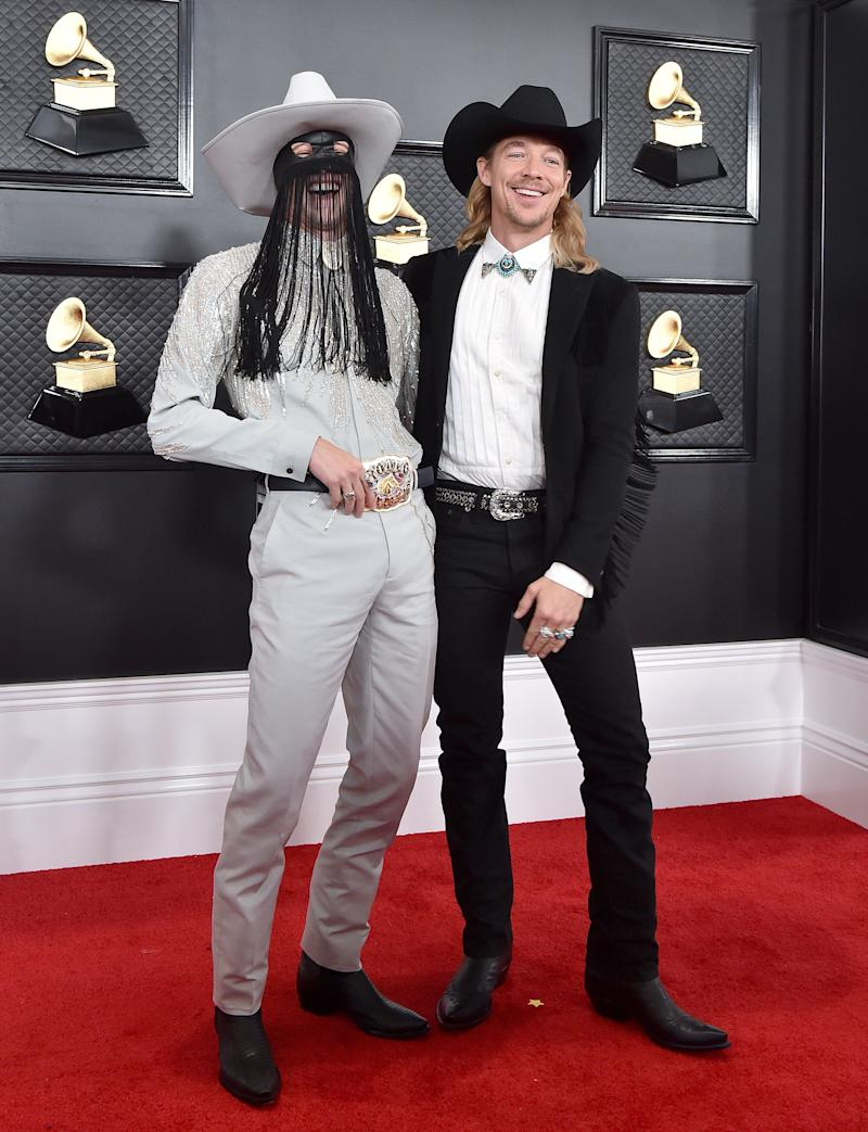 Orville Peck and Diplo at the Grammy Awards on Sunday. (Photo: Axelle/Bauer-Griffin via Getty Images)