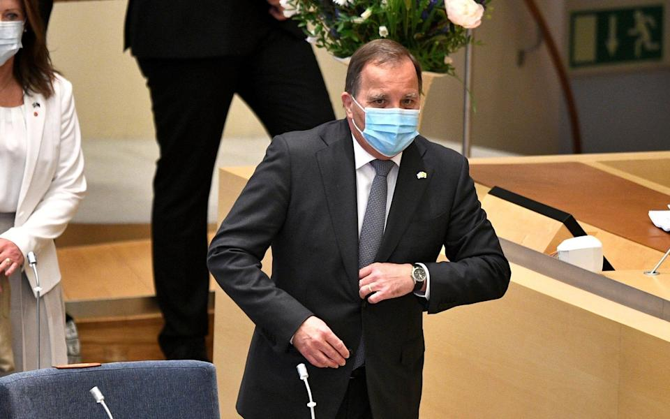 Sweden's Prime Minister Stefan Lofven before a confidence vote in the Swedish Parliament in Stockholm - TT NEWS AGENCY