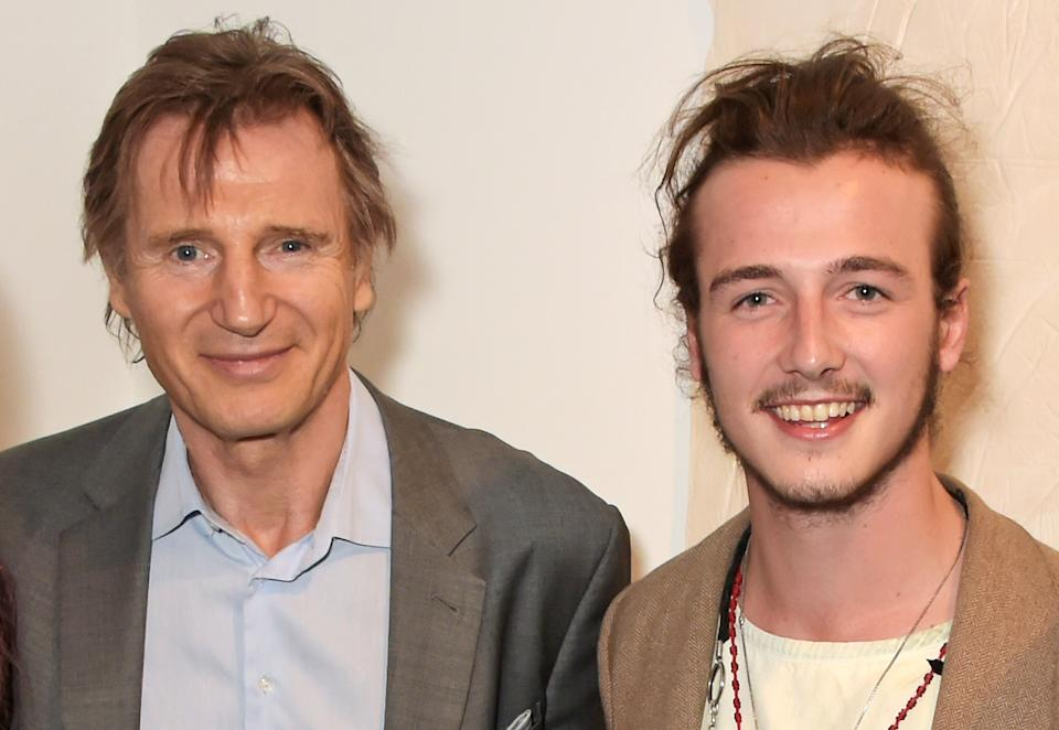 LONDON, ENGLAND - JUNE 02:  Liam Neeson (L) and son Micheal Neeson attend the Maison Mais Non launch party as Micheal Neeson launches fashion gallery in Soho on June 2, 2015 in London, England.  (Photo by David M. Benett/Getty Images for Maison Mais Non)