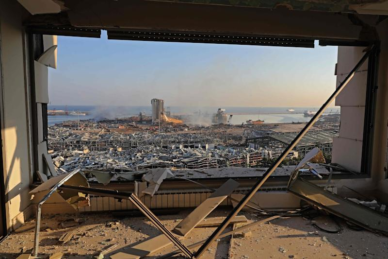 Smoke was still rising from the port, where a towering grain silos had been shattered (AFP via Getty Images)