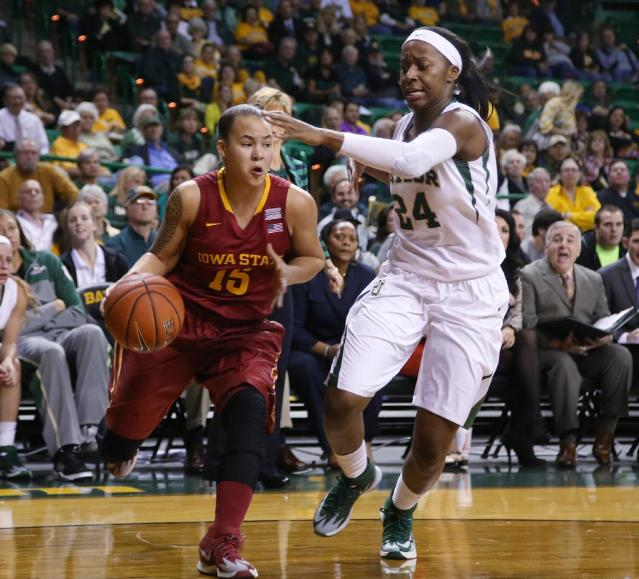 Iowa State guard Nicole (Kidd) Blaskowsky (15), left, is guarded by Baylor guard Ieshia Small (24), in the first half of an NCAA college basketball game, Wednesday, Feb. 19, 2014, in Waco, Texas. (AP Photo/Rod Aydelotte)