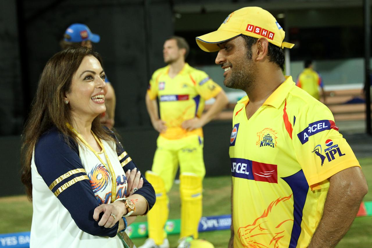 Nita Ambani chats with Mahendra Singh Dhoni after MI won the match 5 of the Pepsi Indian Premier League between The Chennai Superkings and the Mumbai Indians held at the MA Chidambaram Stadiumin Chennai on the 6th April 2013Photo by Prashant Bhoot-IPL-SPORTZPICS Use of this image is subject to the terms and conditions as outlined by the BCCI. These terms can be found by following this link:https://ec.yimg.com/ec?url=http%3a%2f%2fwww.sportzpics.co.za%2fimage%2fI0000SoRagM2cIEc&t=1498536083&sig=YK5xxUxs8f5N9jy_Z8xm5g--~C