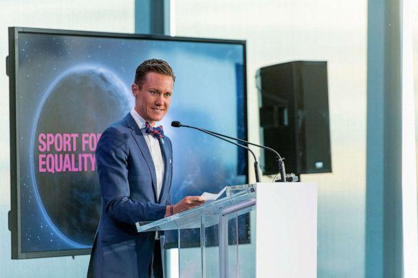 PHOTO:Chris Mosier presents the Sport for Equality Award during the Beyond Sport Global Awards, July 26, 2017, in New York. (Roy Rochlin/Getty Images)
