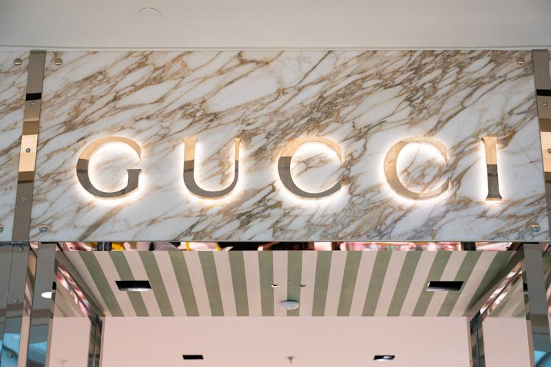 SHANGHAI, CHINA - 2019/07/22: Italian luxury fashion and leather goods brand Gucci logo seen in Shanghai. (Photo by Alex Tai/SOPA Images/LightRocket via Getty Images)