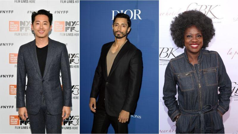 Steven Yeun (Dia Dipasupil/Getty Images), Riz Ahmed (Andrew Toth/Getty Images for The Hollywood Reporter), Viola Davis (Jesse Grant/Getty Images for GBK Productions)