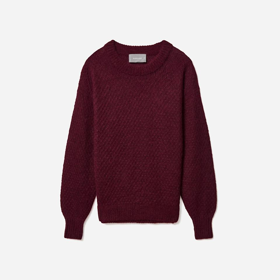 "<p><strong>Everlane</strong></p><p>everlane.com</p><p><strong>$95.00</strong></p><p><a href=""https://go.redirectingat.com?id=74968X1596630&url=https%3A%2F%2Fwww.everlane.com%2Fproducts%2Fwomens-knit-alpaca-crew-oxblood&sref=https%3A%2F%2Fwww.oprahmag.com%2Fstyle%2Fg34688882%2Fnew-years-eve-outfit-ideas%2F"" rel=""nofollow noopener"" target=""_blank"" data-ylk=""slk:SHOP NOW"" class=""link rapid-noclick-resp"">SHOP NOW</a></p>"