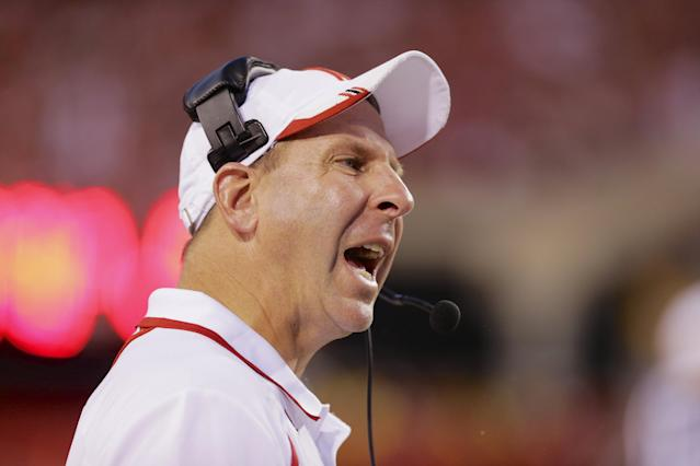 FILE - In this Sept. 7, 2013, file photo, Nebraska head coach Bo Pelini yells instructions in the second half of an NCAA college football game against Southern Mississippi in Lincoln, Neb. Nebraska Chancellor Harvey Perlman and athletic director Shawn Eichorst say they believe football coach Bo Pelini is sincere in his apology for a profane rant against fans two years ago and the university is ready to put the matter to rest. (AP Photo/Nati Harnik, File)