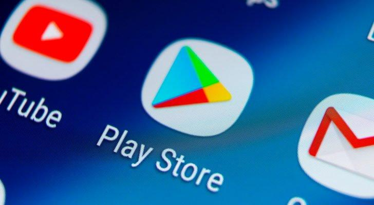 the google play store, youtube and gmail apps on a cellphone screen
