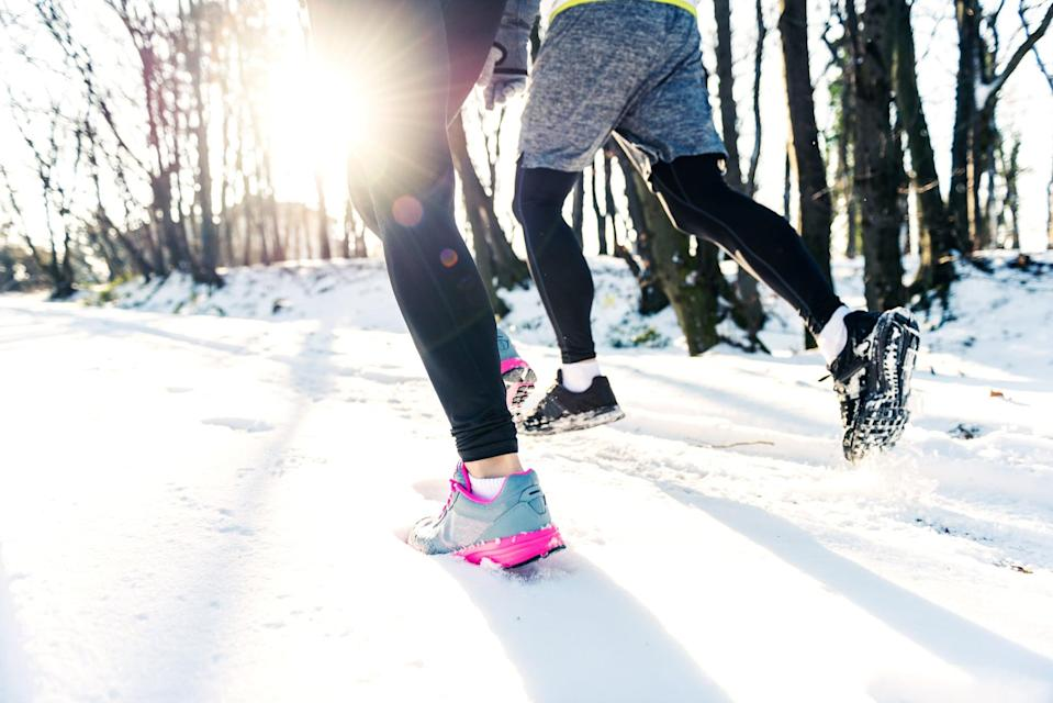 "<p>Running in snow puts you at a greater risk of slipping than running on dry surfaces. That's why Rory Graman, RRCA-certified run coach and cofounder of the <a href=""https://www.chargerunning.com/"" class=""link rapid-noclick-resp"" rel=""nofollow noopener"" target=""_blank"" data-ylk=""slk:Charge Running"">Charge Running</a> app, recommends checking the tread on the bottom of your <a href=""https://www.popsugar.com/fitness/Best-Running-Shoes-Women-2019-45600426"" class=""link rapid-noclick-resp"" rel=""nofollow noopener"" target=""_blank"" data-ylk=""slk:running shoes"">running shoes</a> before heading out into the wet snow. ""Heavily worn-out shoes tend to have less grip,"" Graman said.</p>"