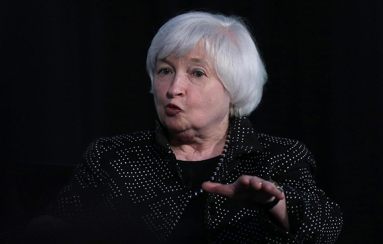 FILE - In this Friday, May 27, 2016, file photo, Federal Reserve Chair Janet Yellen speaks while being interviewed as part of a conversation at a Radcliffe Day event at Harvard University in Cambridge, Mass. On Wednesday, Sept. 21, 2016, the Federal Reserve issues a statement and updates its economic forecasts, and Chair Janet Yellen holds a news conference. The Fed is expected to leave rates alone, though a rate hike isn't impossible. (AP Photo/Charles Krupa, File)
