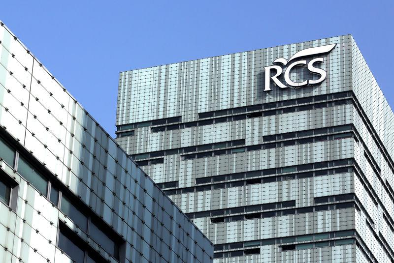 FILE PHOTO: RCS MediaGroup S.p.A. logo is seen on top of the headquter in Milan