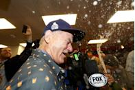 <p>Bill Murray celebrates in the clubhouse after the Chicago Cubs defeated the Cleveland Indians 8-7 in Game Seven of the 2016 World Series at Progressive Field on November 2, 2016 in Cleveland, Ohio.</p>