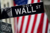 FILE PHOTO: A Wall Street sign is pictured outside the New York Stock Exchange, in New York City