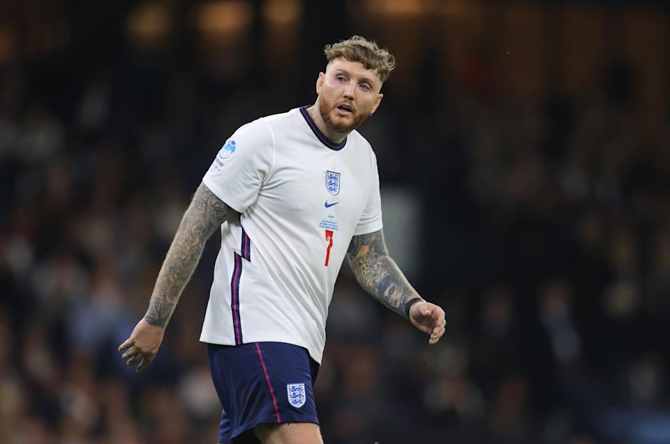 MANCHESTER, ENGLAND - SEPTEMBER 04:  James Arthur of England during the Soccer Aid for Unicef 2021 match between England and Soccer Aid World XI at Etihad Stadium on September 04, 2021 in Manchester, England. (Photo by James Gill - Danehouse/Getty Images)