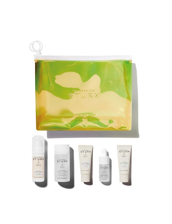 """<h2><a href=""""https://www.molecular-cosmetics.com/cosmetics/darker-skin-tones-kit"""" rel=""""nofollow noopener"""" target=""""_blank"""" data-ylk=""""slk:Molecular Cosmetics Darker Skin Tones Discovery Kit"""" class=""""link rapid-noclick-resp"""">Molecular Cosmetics Darker Skin Tones Discovery Kit</a></h2> <br>This travel-friendly skincare set from Dr. Barbara Sturm is super-luxe and easy to pop into a carry-on, perfect for the Sag who hates being tied down. The kit itself features the entire Darker Skin Tones Collection and comes in a chic eye-catching (and Zodiac-friendly) holographic bag that can be used over and over again.<br><br><strong>Molecular Cosmetics</strong> Molecular Cosmetics Darker Skin Tones Discovery Kit, $, available at <a href=""""https://www.molecular-cosmetics.com/cosmetics/darker-skin-tones-kit"""" rel=""""nofollow noopener"""" target=""""_blank"""" data-ylk=""""slk:Molecular Cosmetics"""" class=""""link rapid-noclick-resp"""">Molecular Cosmetics</a><br>"""