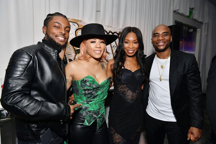 (L-R) Niko Khalé, Keyshia Cole. Jessica Gadsden and Charlamagne tha God attend Tiffany Haddish: Black Mitzvah at SLS Hotel on December 03, 2019 in Beverly Hills, California.