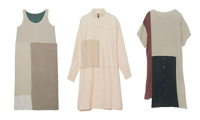 Three dresses from the Resewn collection. (Photo: Courtesy of Eileen Fisher)