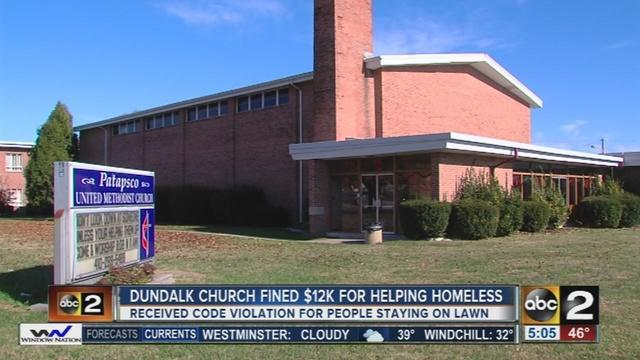 Patapsco United Methodist Church in Dundalk, Md. (Photo: Screenshot, WMAR Baltimore)
