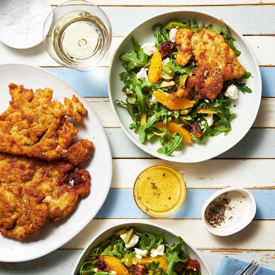 <p>This satisfying dinner salad was one of the favorites chosen from over 1,000 salad recipes for our 30th anniversary issue. Victoria Abbott Riccardi originally shared this recipe in a feature on different types of cutlets in 2005. She crumbled nutty aged goat cheese on top--look for it in the specialty cheese section.</p>