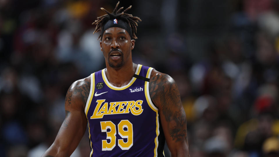 "<a class=""link rapid-noclick-resp"" href=""/nba/players/3818/"" data-ylk=""slk:Dwight Howard"">Dwight Howard</a> has indicated <a href=""https://sports.yahoo.com/dwight-howard-basketball-isn-t-143812100.html"" data-ylk=""slk:he's not interested in playing at Disney World;outcm:mb_qualified_link;_E:mb_qualified_link;ct:story;"" class=""link rapid-noclick-resp yahoo-link"">he's not interested in playing at Disney World</a>. (AP Photo/David Zalubowski)"