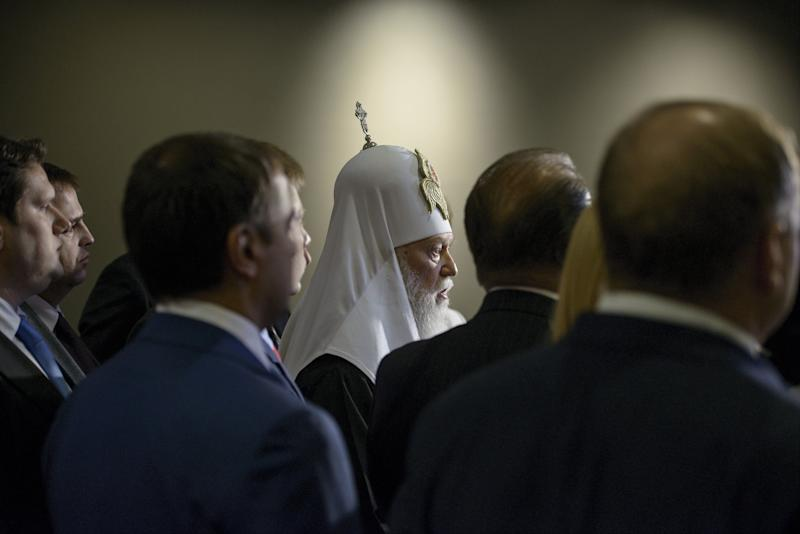 Patriarch Filaret, head of the Ukrainian Orthodox Church of the Kyivan Patriarchate, speaks during a press conference on Capitol Hill in Washington, D.C., on Feb. 5, 2015. Delegates from the Ukrainian Parliament joined members of the House of Representatives to appeal for lethal military aid from the U.S.