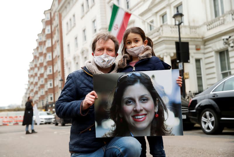 FILE PHOTO: Richard Ratcliffe protests outside Iranian Embassy in London
