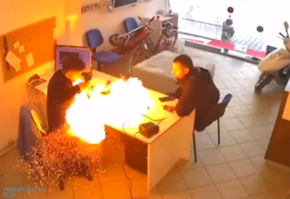The tablet in the mechanic's hand exploded like a bomb. Source: Newsflash/Australscope